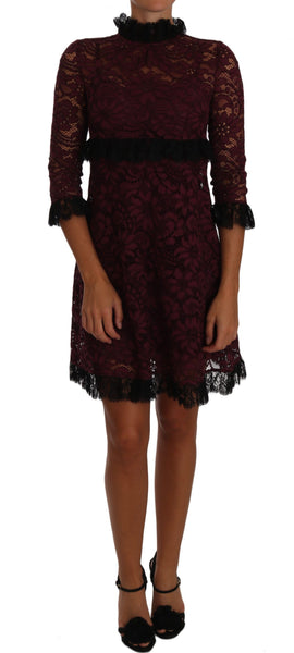 Black Floral Lace Burgundy Gown Mock Collar Dress