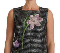 Gray Tulip Embroidered A-Line Shift Dress