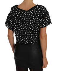 Black White Polka Dot Crop Top Blouse