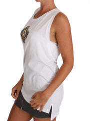 White Crystal Religious Cross Cami Top T-shirt