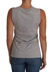 Gray and white Cami Tank Gray LOVE Cotton Top