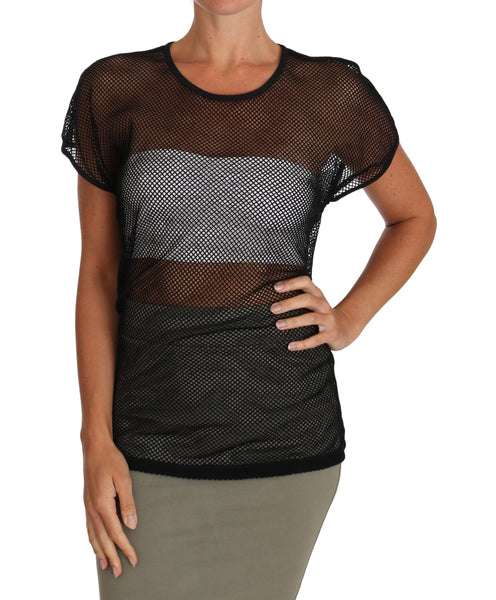 Black Mesh Transparent Blouse T-shirt