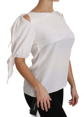 Solid White Silk Off Shoulder Blouse Top