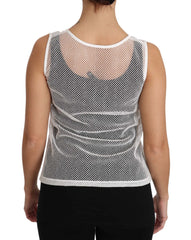 White Net  Transparent Sleeveless Tank Top