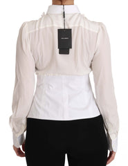 White Silk Ruffle Shirt Top Longsleeved Shirt