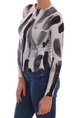 Cardigan Lightweight Silk Paint Stroke Sweater