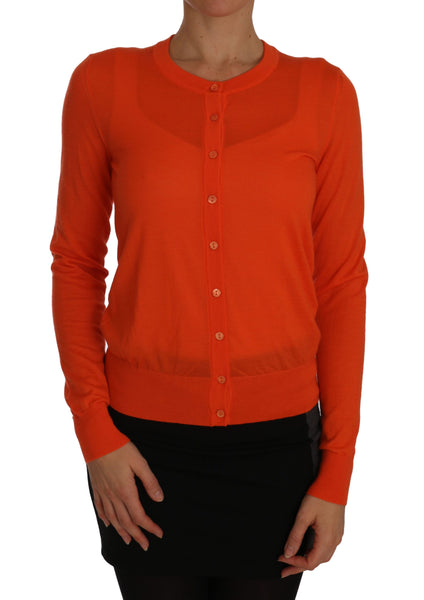 Orange Cardigan Lightweight Cashmere Sweater