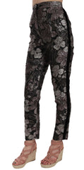 Gray Floral Brocade High Waist Tapered Pants