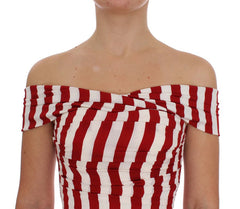 Red White Silk Stretch Dress