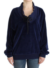 Dark blue velvet cotton sweater