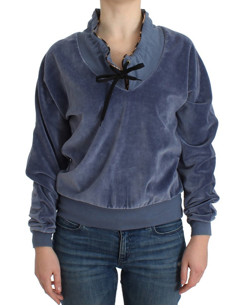 Blue velvet cotton sweater