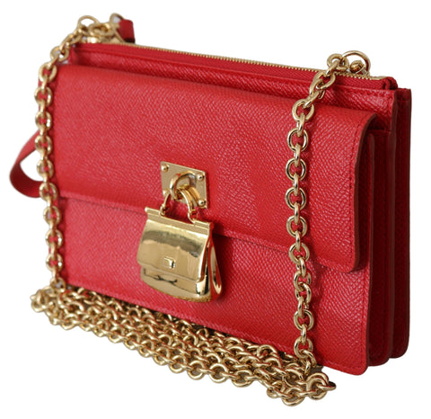 Red Leather Gold Chain Sling Phone Wallet SICILY Bag