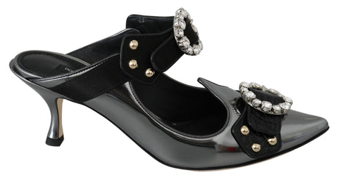Black Gray  Crystal Sandals Mules Shoes
