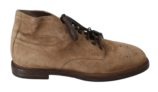 Beige Leather Brogue Derby Boots Shoes