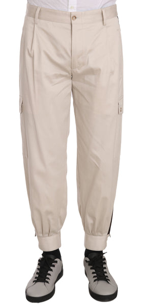 Cotton Stretch Beige Mens Trouser Pants
