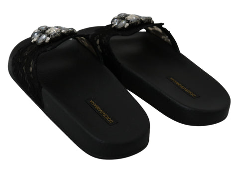 Black Lace Crystal Sandals Slides Beach Shoes