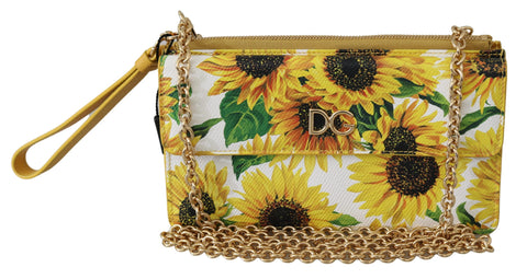 White Sunflower Gold Chain Sling Wallet Borse Bag