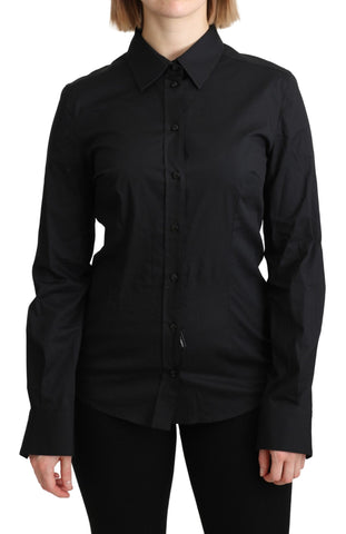 Black Formal Dress Shirt Cotton Top Shirt