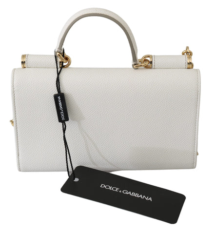 White Leather Sling Phone Purse Clutch SICILY Von Bag