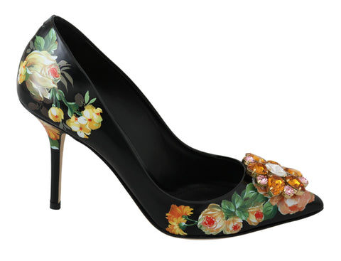 Black Leather Crystal Roses Pumps Shoes