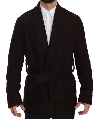 Bordeaux Robe Coat Mens Wrap  Jacket