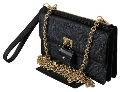 Black Padlock Phone Purse Clutch Sicily Leather Bag