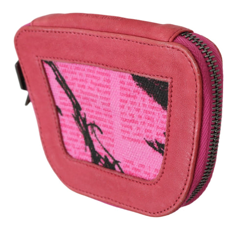 Pink Suede Printed Coin Holder Women Fabric Zippered Purse