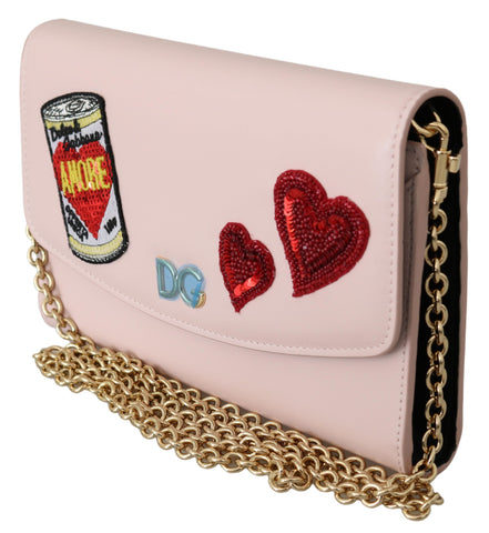 Pink Amore Patch Shoulder Wallet Borse Leather Bag
