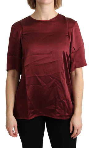 Bordeaux Roundneck Blouse Silk Top