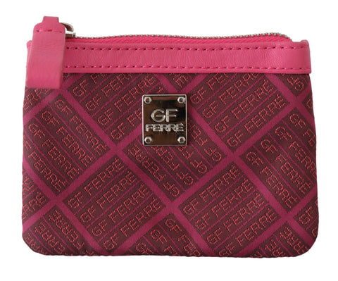 Pink Brand Pattern Logo Textile Holder Case Wallet