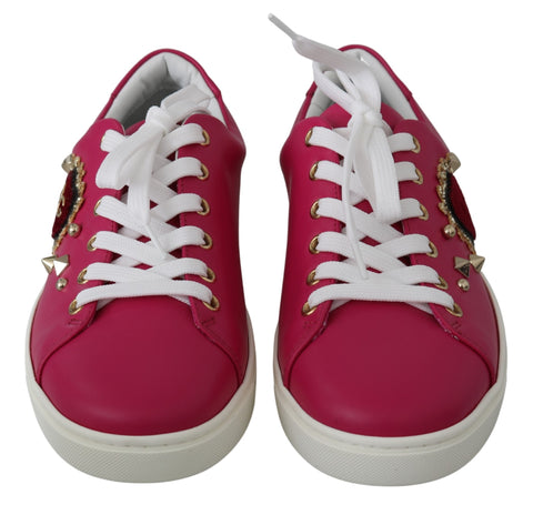 Pink Leather Gold Red Heart Sneakers Shoes