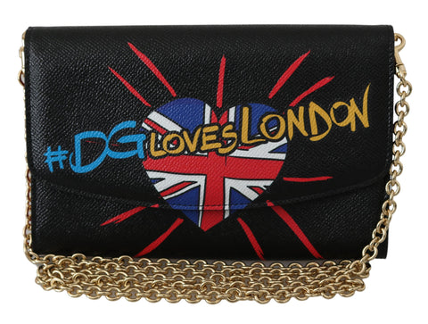 Black #DGLovesLondon Shoulder Clutch Borse Leather Bag