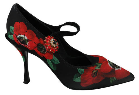 Black Red Floral Mary Janes Pumps Shoes