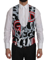 Black Printed Polyester Formal  Vest