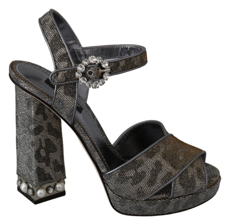 Gray Shiny Crystal Leopard Sandals Shoes
