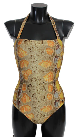 Yellow Gold Snakeskin Beachwear Swimsuit
