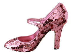 Pink Sequined Crystal Mary Jane Heels Shoes