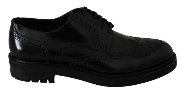 Black Leather Brogue Derby Dress Shoes