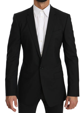 Black MARTINI  Wool Silk Slim Fit Jacket Blazer