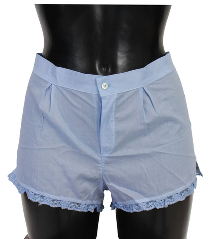 Blue Lace Cotton Shorts Underwear