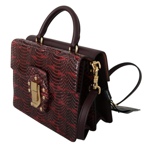 Bordeaux Snakeskin Leather Shoulder LUCIA Purse