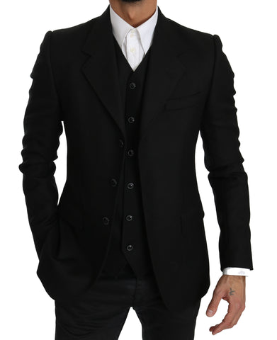 Black Wool Two Piece Vest Jacket Blazer