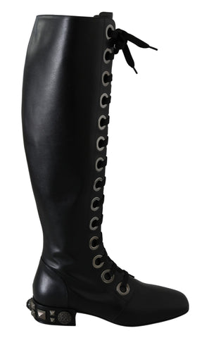 Black Leather Knee Biker Studs Boots Shoes