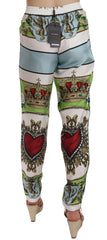 Sicily Peach Heart Crown Casual Pants