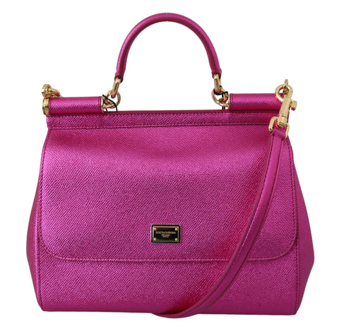 Pink Metallic Cross Body Shoulder SICILY Leather Bag