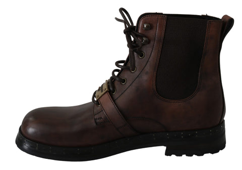 Brown Leather Buckle Strap Shoes Boots