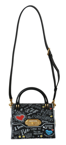 Black Leather DG Heart Crossbody WELCOME Purse