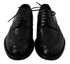 Black Leather Oxford Derby Dress Shoes