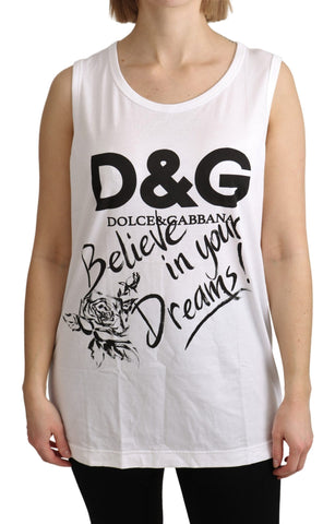 White D&G Print Sleeveless Tank Top