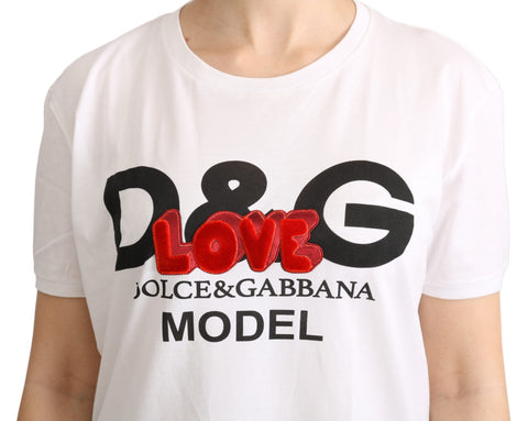 White D&G Love Print Roundneck T-shirt  Top